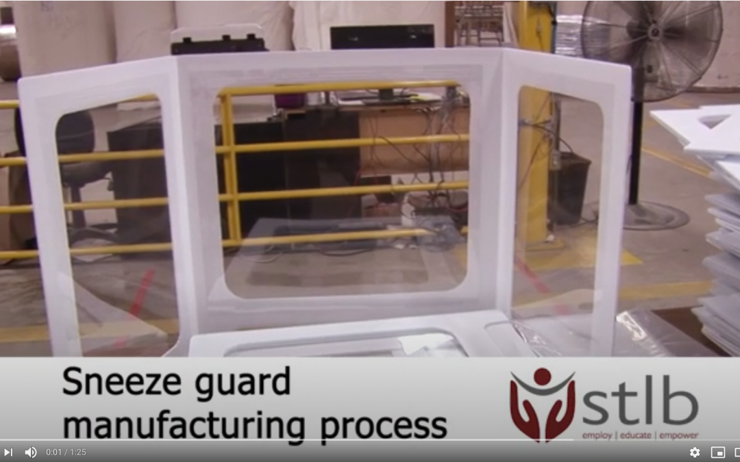 Sneeze guard being manufactured